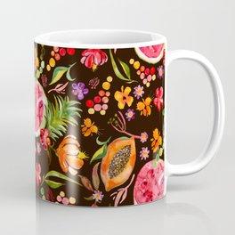 Tropical Fruit Festival in Black | Frutas Tropicales en Negro Coffee Mug