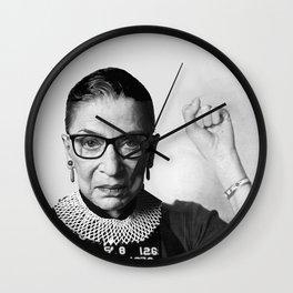 RBG Ruth Bader Ginsburg Drawing Jane Fonda Mug Shot Mugshot Wall Clock