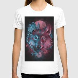 wolf art decor black T-shirt