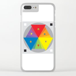 Color wheel by Dennis Weber / Shreddy Studio with special clock version Clear iPhone Case