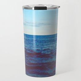 Minimalist Blue Waters Ocean Horizon Landscape Travel Mug