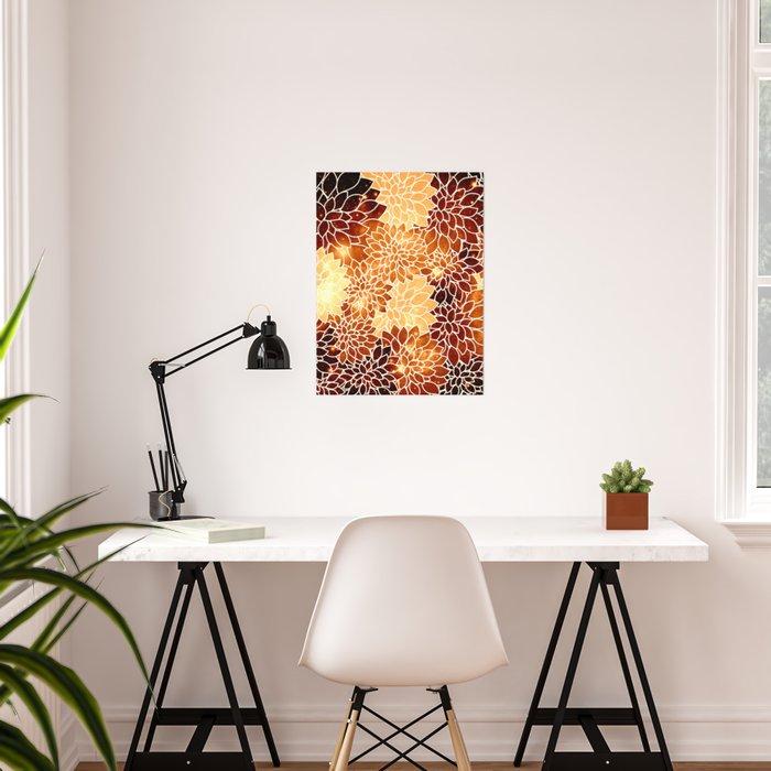 Space Dahlias Golden Bronze Poster