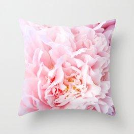 Peony Flower Photography, Pink Peony Floral Art Print Nursery Decor A happy life - Peonies 3 Throw Pillow