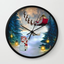Christmas, snowman with Santa Claus Wall Clock