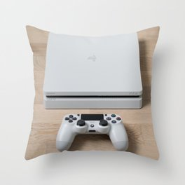 Sony PlayStation 4 Slim Glacier White gaming console Throw Pillow