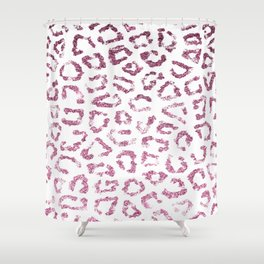 Modern burgundy pink gradient glitter animal print Shower Curtain