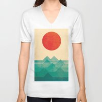 japanese V-neck T-shirts featuring The ocean, the sea, the wave by Picomodi