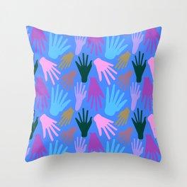 Minimalist Hands in Blue Throw Pillow