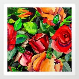 Green Rose Chafer Beetles Amidst the Garden Art Print