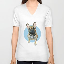 French Bulldog blue spot. Unisex V-Neck