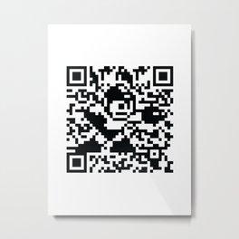 Mega Man QR Code 8-Bit Art Metal Print