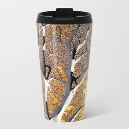 Abstract Post-Apo Landscape - Lone Tree, apocalyptic view, glowing quicksilver, orange, brown colors Travel Mug
