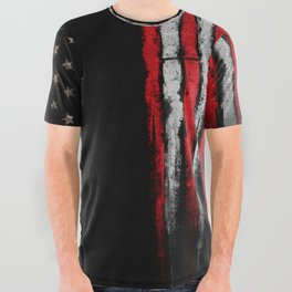 Red & white Grunge American flag All Over Graphic Tee