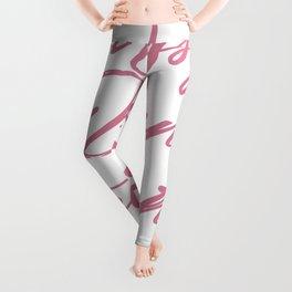 Messy bun get it done pink lettering Leggings