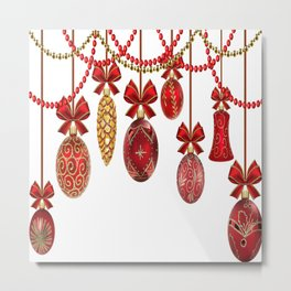 Red And Gold Christmas Ornaments Metal Print