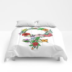 Feminist flower in color Comforters
