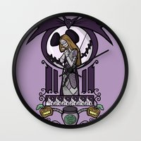 nouveau Wall Clocks featuring Nightmare Nouveau by Karen Hallion Illustrations