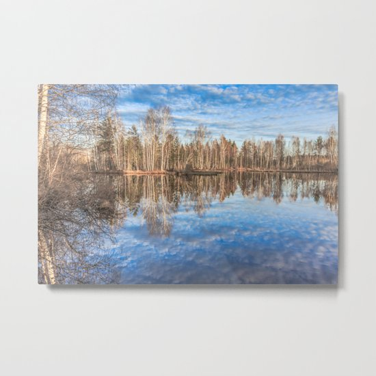 Sky reflection in a spring pond Metal Print