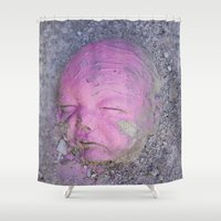 no face Shower Curtains featuring Face by Victoria Herrera