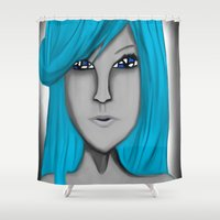 no face Shower Curtains featuring Face by LCMedia