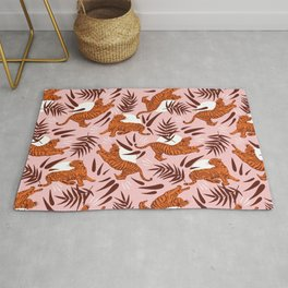 Vibrant Wilderness / Tigers on Pink Rug