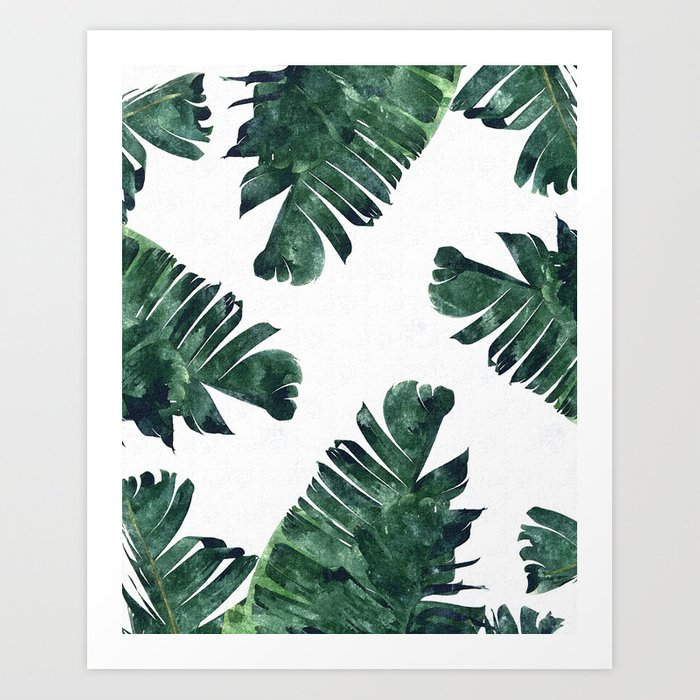 Banana Leaf Watercolor #society6 #buy #decor Art Print