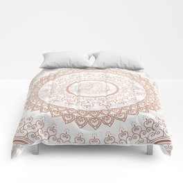 Mandala - rose gold and white marble Comforters