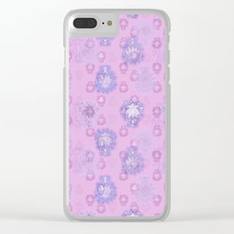 Lotus flower - pink and light blue woodblock print style pattern Clear iPhone Case