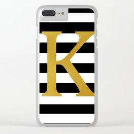 Gold K Black White Stripes Clear iPhone Case