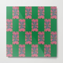 Middle School Print in Pink and Green Metal Print