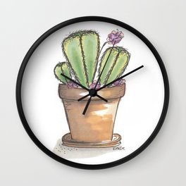 Potted Cactus Drawing Wall Clock