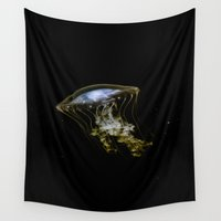 jelly fish Wall Tapestries featuring Jelly Fish by Petra Heitler