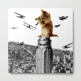 Classic King Kong Scene Cat Kitty Attack Space Galaxy Crazy Airplane Metal Print