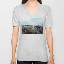 Water licks the Wharf's Remains Unisex V-Neck