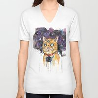 space cat V-neck T-shirts featuring Space Cat by scoobtoobins
