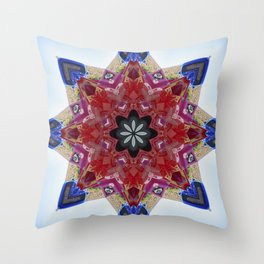Red and blue classic trucks kaleidoscope Throw Pillow