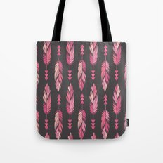 Painted Feathers in a Row-Gray Tote Bag