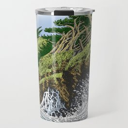 CYPRESS TREES AND BIG WAVE OF NORTHERN CALIFORNIA COAST Travel Mug