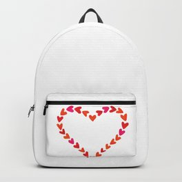 Red watercolor hand drawn hearts. Backpack