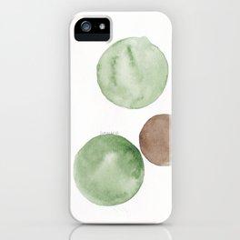 4 |181104 Australian Leaf Green & Brown Earth Orbs | Watercolour Circle Abstract Geometrical iPhone Case