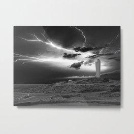 Lightning over Lighthouse Metal Print