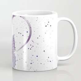 Pretty Purple Butterfly Fluttering on Heart of Vines and Paint Splatter Background Coffee Mug