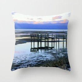 Dock at Low Tide Throw Pillow