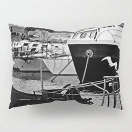 Docked Boats-B&W Pillow Sham