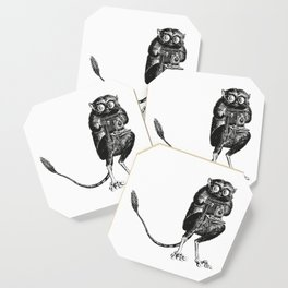 Say Cheese! | Tarsier with Vintage Camera | Black and White Coaster