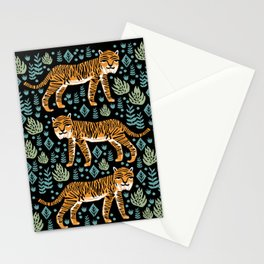 Tiger forest tropical tigers screen print art by andrea lauren Stationery Cards