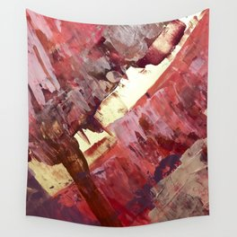 Desert Sun: A bright, bold, colorful abstract piece in warm gold, red, yellow, purple and blue Wall Tapestry