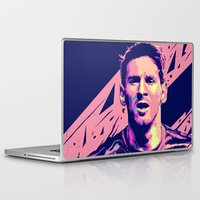 messi Laptop & iPad Skins featuring Lionel Messi : Football Illustrations by mergedvisible