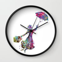mary poppins Wall Clocks featuring Mary Poppins by Bitter Moon