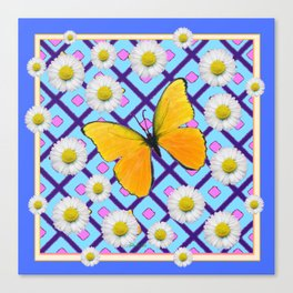 Yellow Butterfly on  Blue-pink Shasta Daisy Abstract Pattern Canvas Print